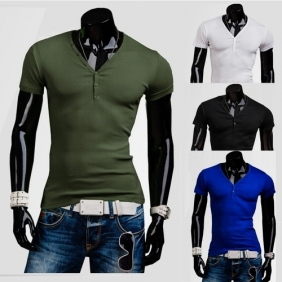 Men's Classic Decorative Buckle Slim Fit Short-Sleeved V-Neck Bottoming T-Shirt