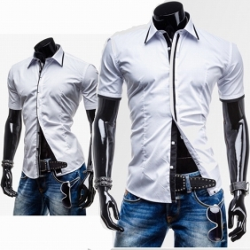 Fashion Placket Design Casual Men's Short-Sleeved Slim Fit Shirt