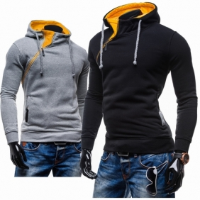 Crash of Color Men Hedging Short Paragraph Slim Brushed Diagonal Zipper Hooded Sweater Jacket