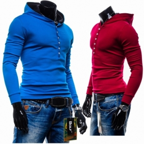 Korean Men's Hooded Hedging Short Paragraph Slim Fit Solid Brushed Sweater Jacket