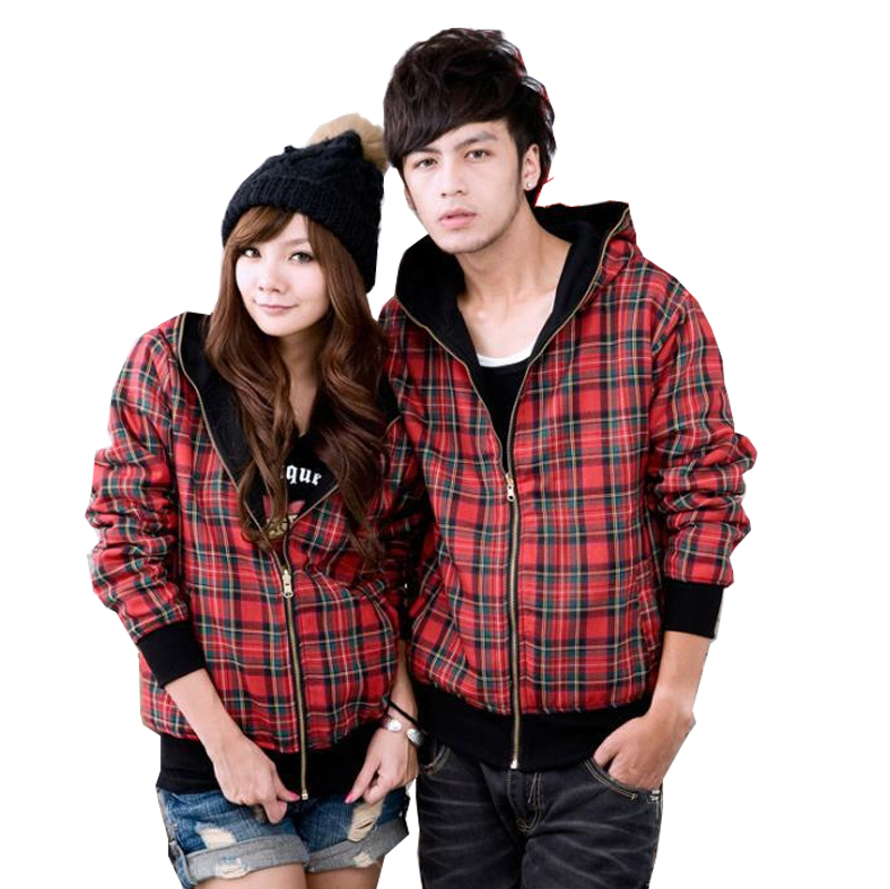 Korean Couple Unisex Double Sides Wear Plaid Hooded Cardigan Sweater Jacket