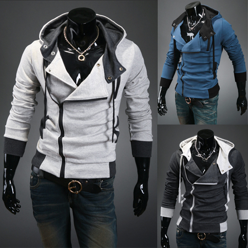 Korean Men\'s Hooded Zipper Sweater Jacket
