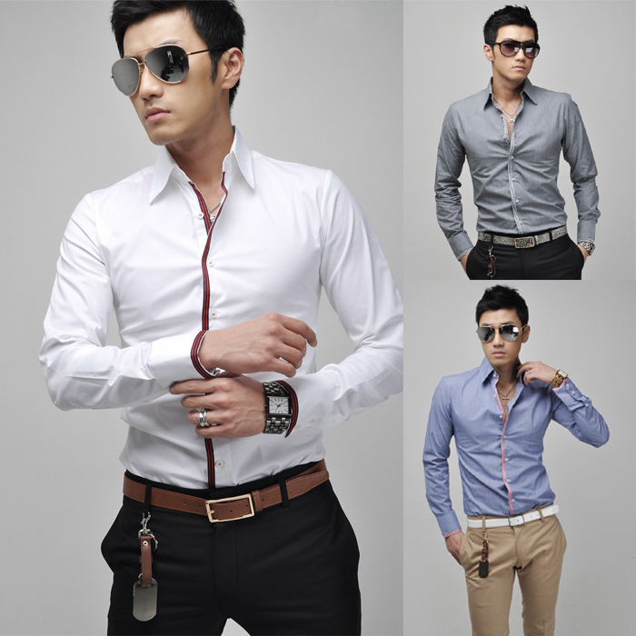 Korean Men\'s Casual Long-Sleeved Shirt