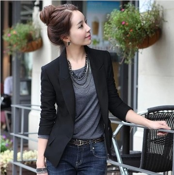 Korean Long Sleeve One Button Slim Fit Women\'s Suit Jacket