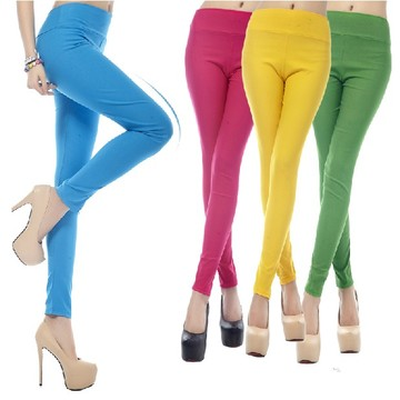 Candy Colored High Waist Tight Stretch Leggings Pantyhose Pencil Pants
