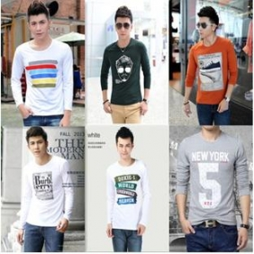 Korean Men Multi Design Loose Long-Sleeved T Shirt