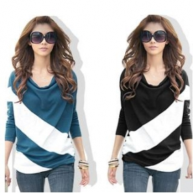 Korean Mixed Colors Bat Fashion Clothes Loose Long-Sleeved T-Shirt
