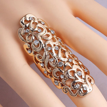 Europe Exaggerated Metal Ring Hollow Carved Diamond Ring