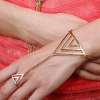 Street Beat Punk Metal Rock Back One Golden Triangle Ring Chain Bracelet
