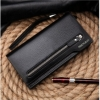 European Men's Zipper Leather Hand Clutch Long Wallet Handbag