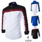 European Men's Casual Personality Three-Color Long-Sleeved Shirt