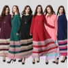 Muslim Women's Stitching Color Rainbow Jubah Baju Kurung Women Dress