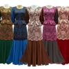 Muslim Fashion Solid Color Chiffon Flower Jubah Baju Kurung Long Dress