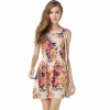 European Fresh Floral Sleeveless Chiffon Dress