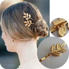 Europe Exaggerated Personality Golden Leaf Edge Clip/PC