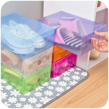 Flip Colorful Candy-Colored Crystal Clear Plastic Shoe Box