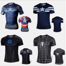 Avenger Superman Spiderman Quick Dry Tights Men Short Sleeve Breathable Running Fitness Cycling Training Compression T-Shirt