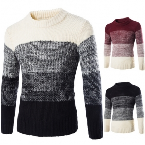 England Slim Fit Hedging Stitching Color Sweater
