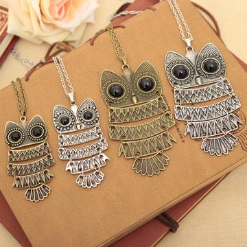 Korea Owl Long Necklace Pendant
