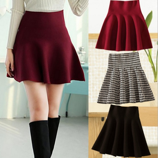 Korean Slim Fit High Waist Knit Bust Short Skirs