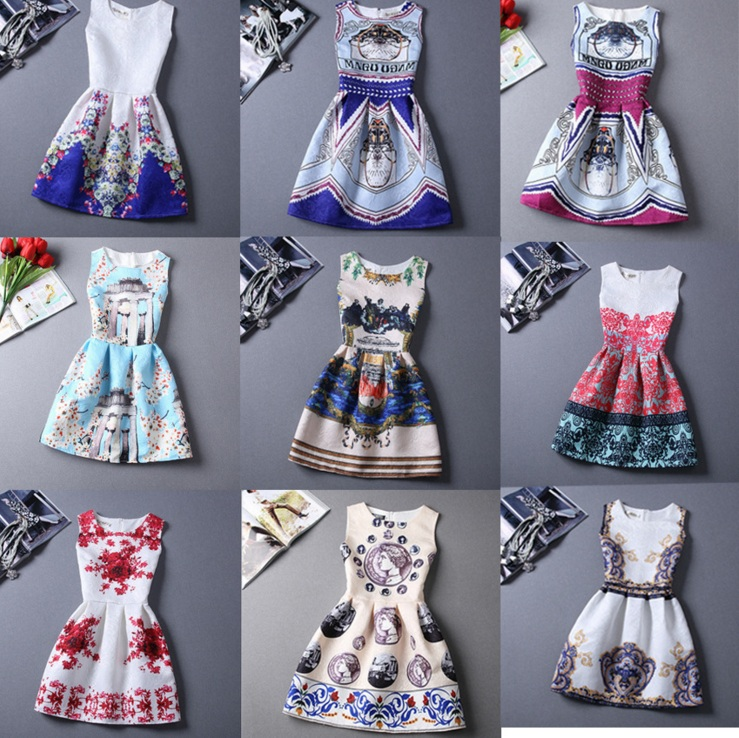 European Digital Printing Sleeveless Vest Dress
