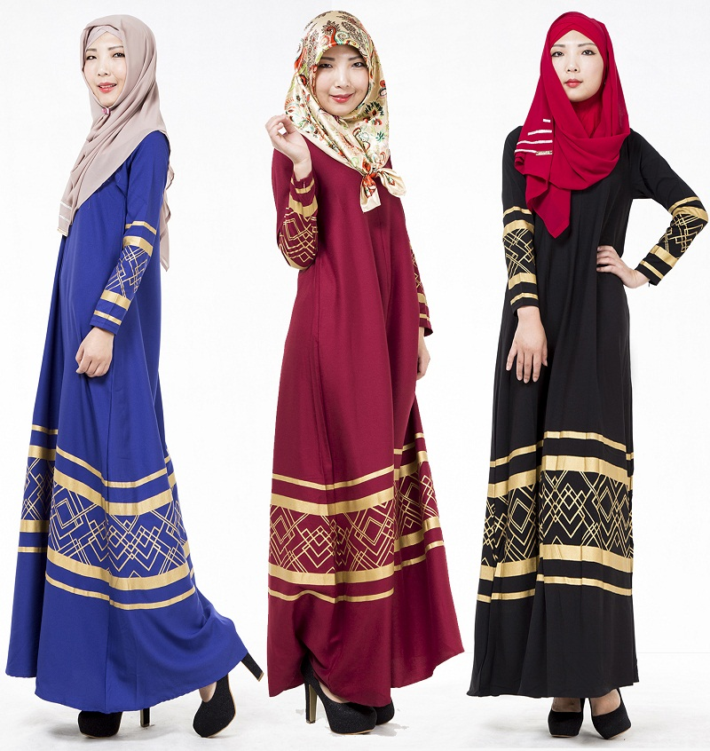 Muslim Bronzing Long Dress Jubah Baju Kurung