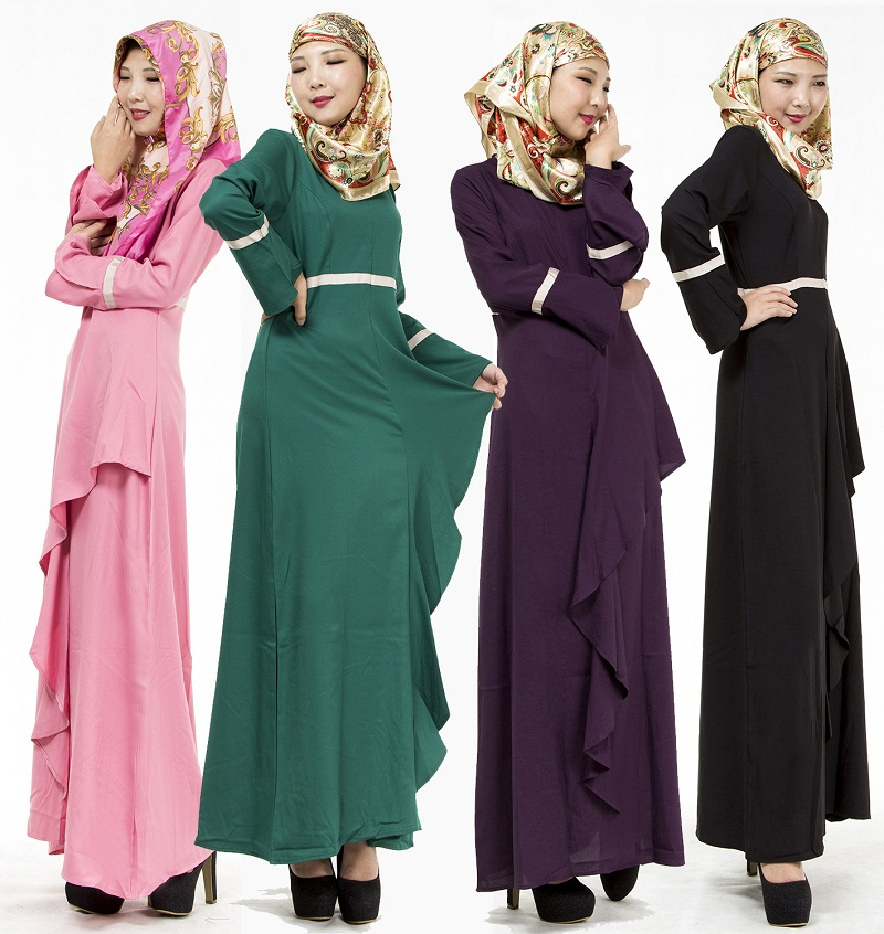 Female Long-Sleeved Lotus Leaf Ethnic Malay Muslim Jubah Baju Kurung Dress