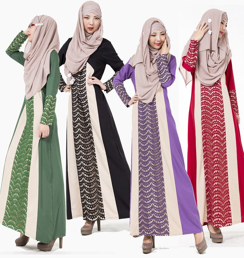 Muslim Dress Lace Stitching Long Dress Jubah Baju Kurung