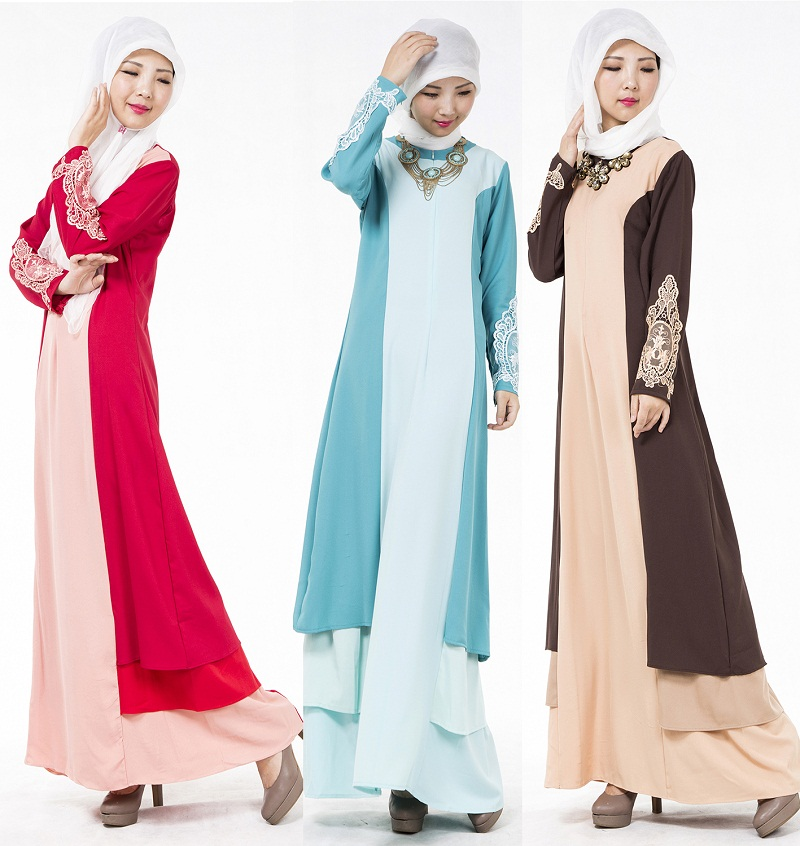 Women's Clothing Stitching Color Malay Muslim Jubah Baju Kurung Dress