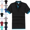 Double Colors Unisex Short-sleeved Casual Business POLO T-Shirt