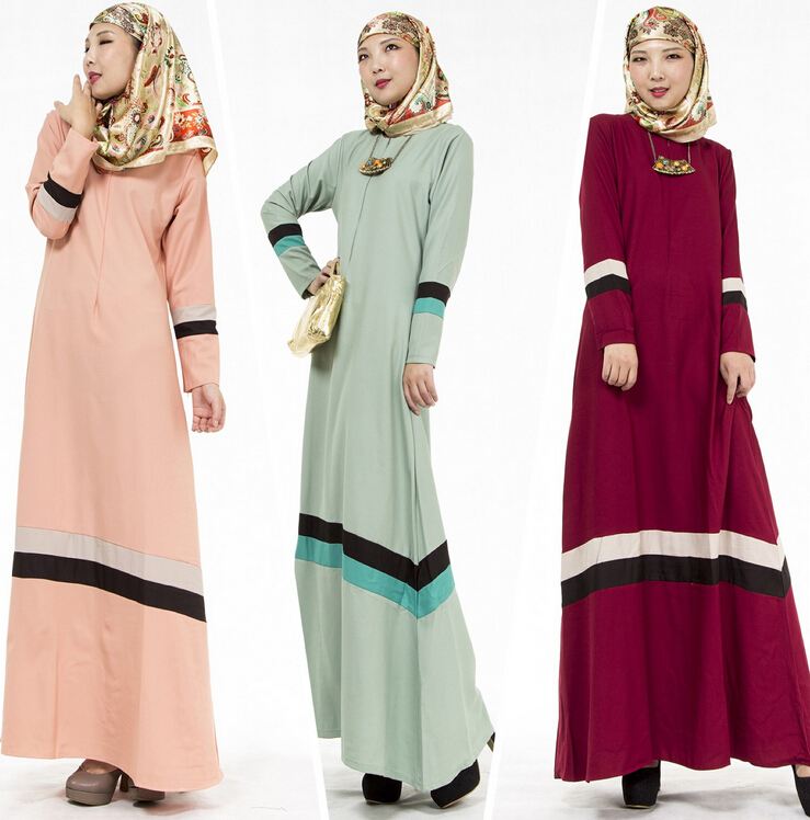 Muslim Stitching Jubah Baju Kurung Long Dress