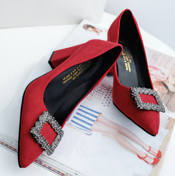 Square Rhinestones Buckle Thick Heel Pointed Suede Wedding Shoes