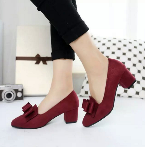 Thick Heel Bow OL Pointed Shoes
