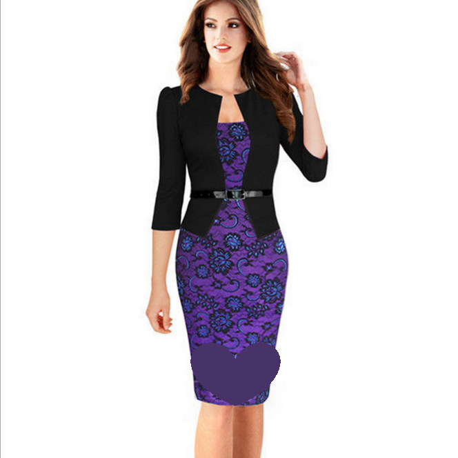 Lace Fake Two Piece Pencil Skirt Package Hip Dress with Belt