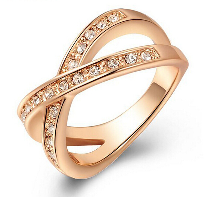 Gold Plated Crystal Diamond Ring