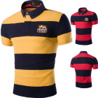 Embroidered Lapel Striped POLO T-shirt