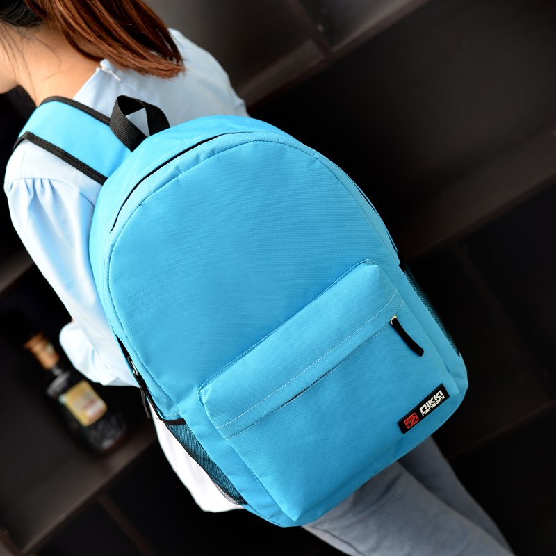 Korean Solid Color Canvas Shoulder Women Backpack Bag