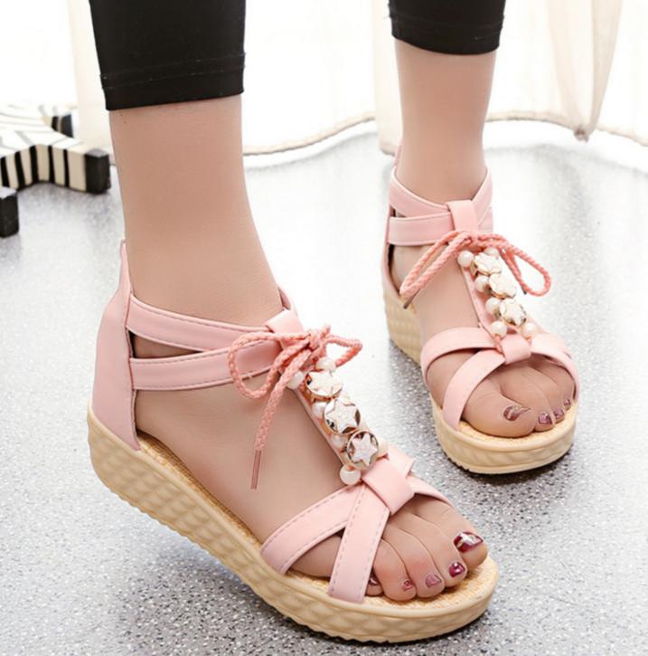 Beaded Comfort Flat Soft-soled Wedges Sandals