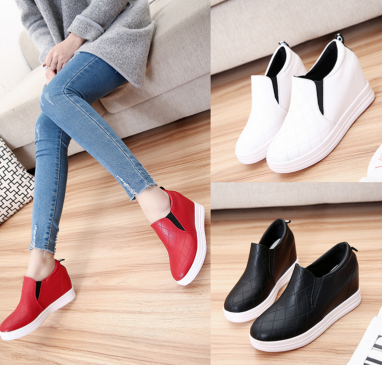 Round Thick Bottom Height Increase Casual Wedges Shoes