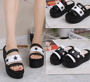 Open-toed Thick Crust Muffin Star Wedges Sandals