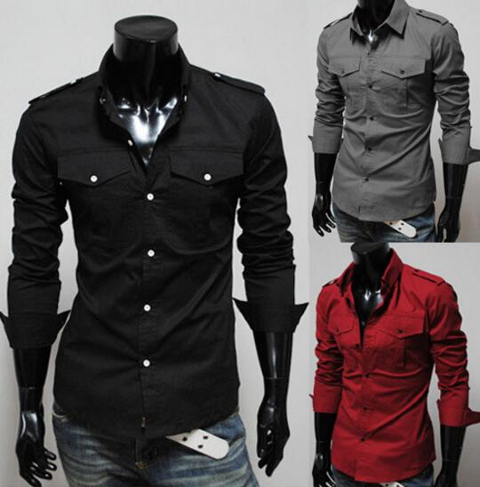 Korean Men's Fashion Epaulette Double Pocket Casual Long-sleeved Shirt