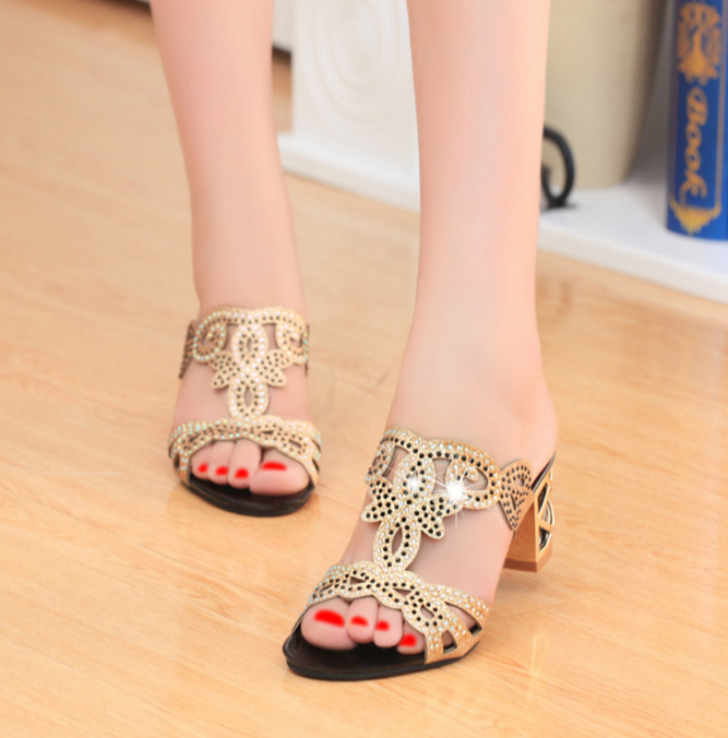 Fashion Comfortable Stylish Thick Heel Fish Mouth Sandals