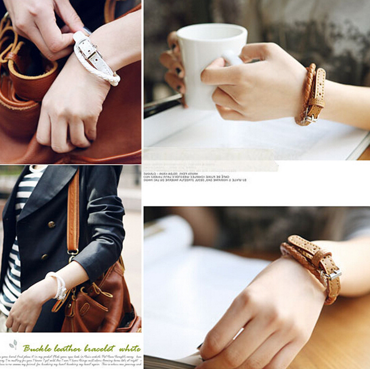 Korean Minimalist Fashion Leather Woven Bracelet