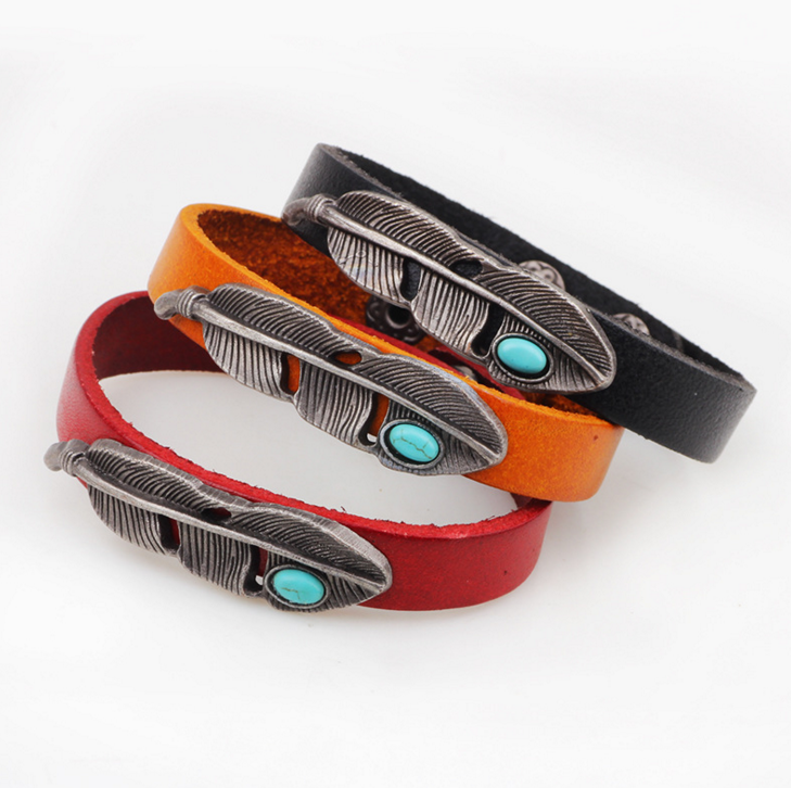 Alloy Feathers Turquoise Leather Bracelet