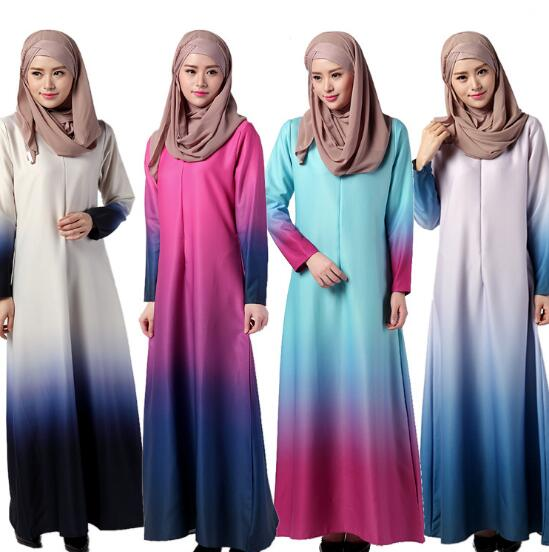 Muslim Rainbow Gradient Big Swing Dress Baju Kurung Jubah