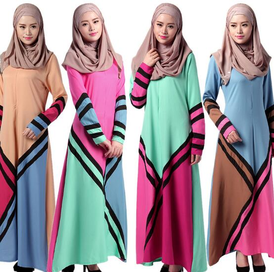 Muslim Geometry Stitching Color Big Swing Dress Jubah Baju Kurung