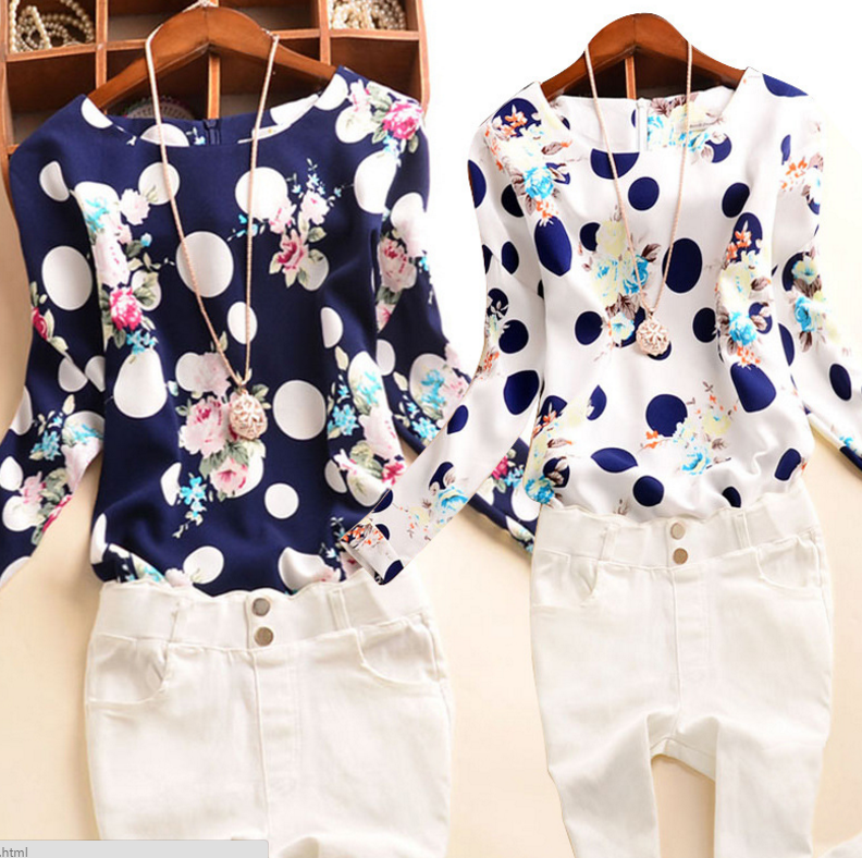 Printed Round Neck Long-sleeved T-shirt