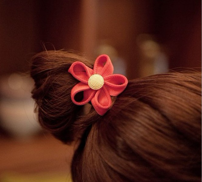 Korean Fashion Zipper Flower Hair Ring Rope
