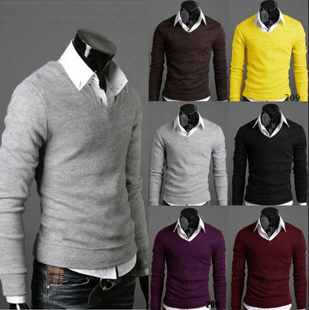 Korean Slim Fit V-neck Knit Sweater Jacker