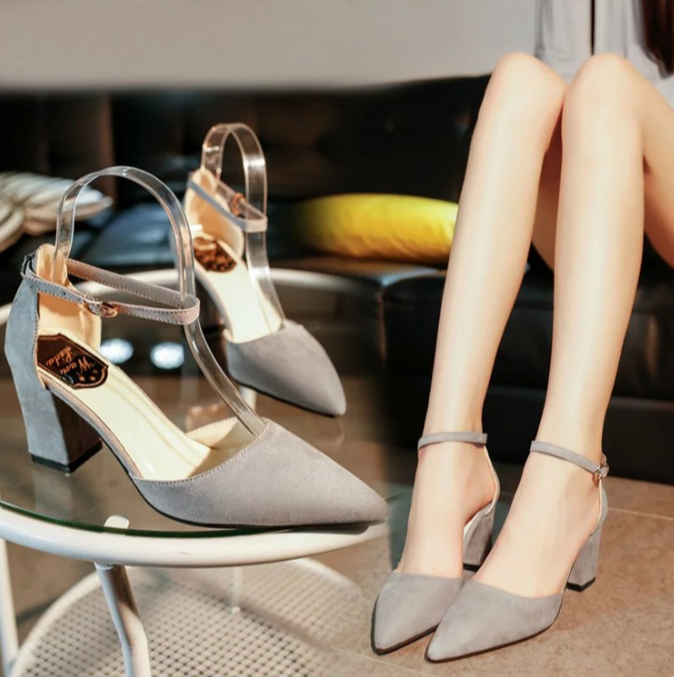 Korean Suede Thick High Heels Shoe